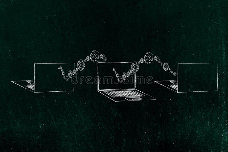 Grupo de 3 ordenadores portátiles delanteros y visión trasera con la onda de las ruedas dentadas que se mueven de uno a otro libre illustration