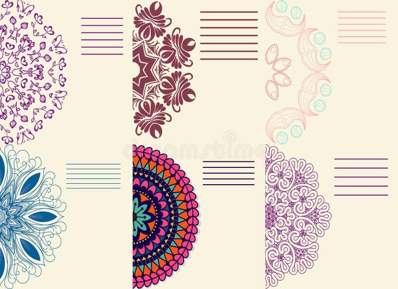 Grupo de ornamento coloridos mandala Laço do Doily, fundo do círculo ilustração stock