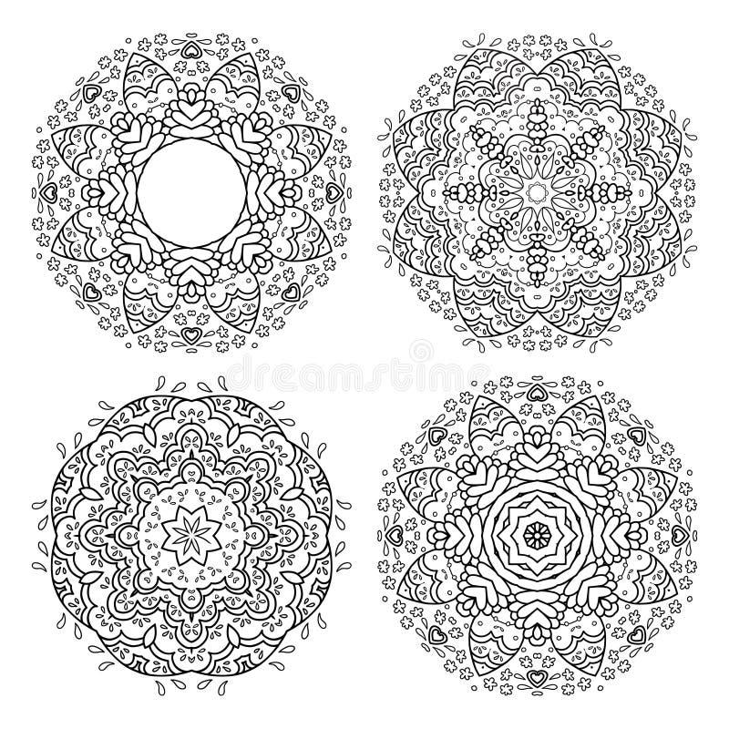 Grupo de ornamento da flor do vetor ilustração do vetor