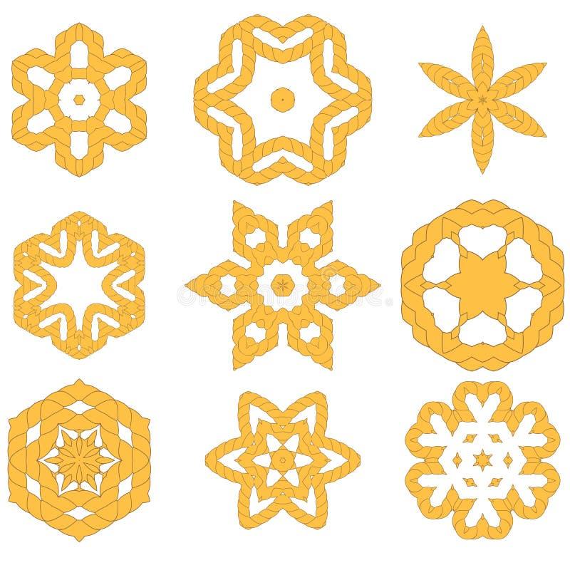 Grupo de ornamento diferentes da corda ilustração stock