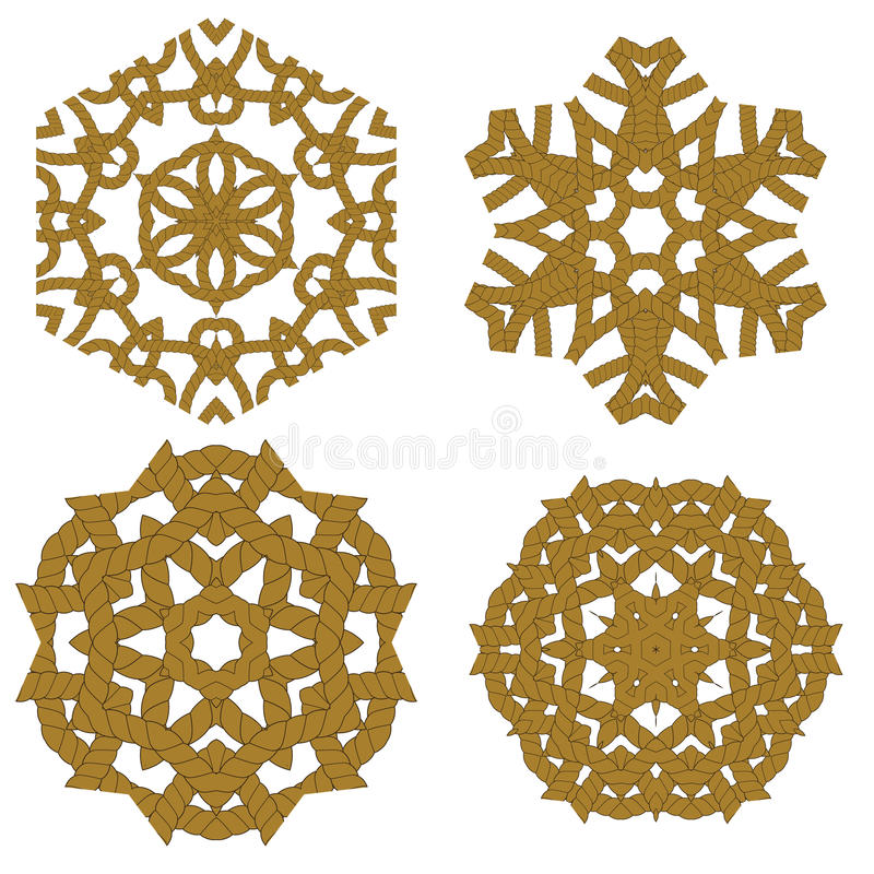 Grupo de ornamento diferentes da corda ilustração royalty free