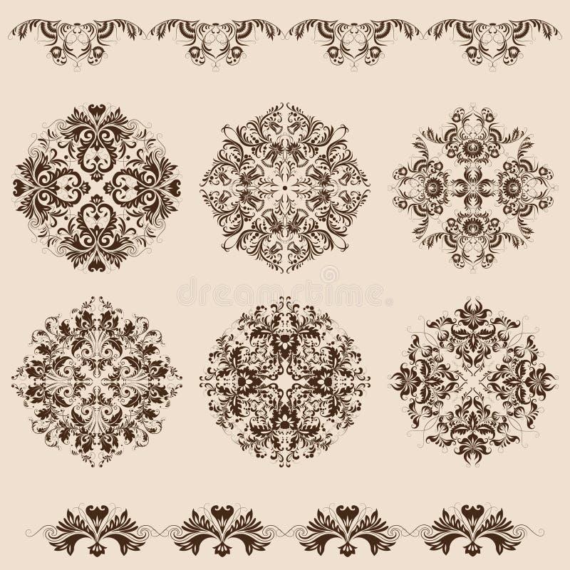 Grupo de ornamento do damasco ilustração stock