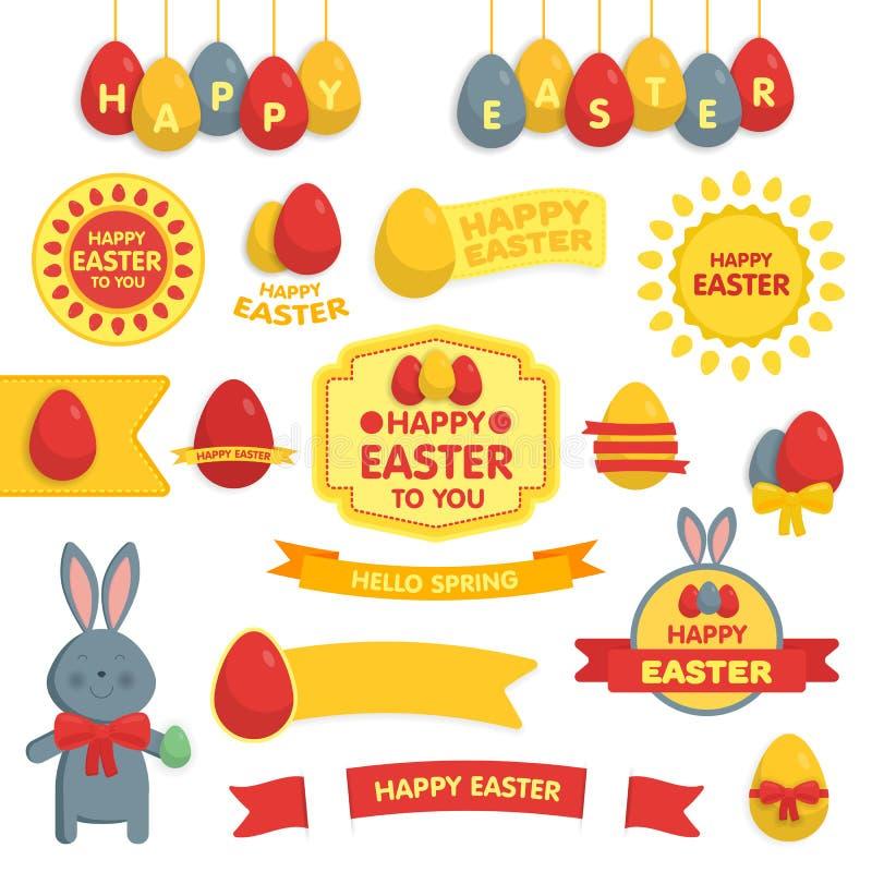 Grupo de ornamento felizes da Páscoa e de elementos decorativos ilustração royalty free