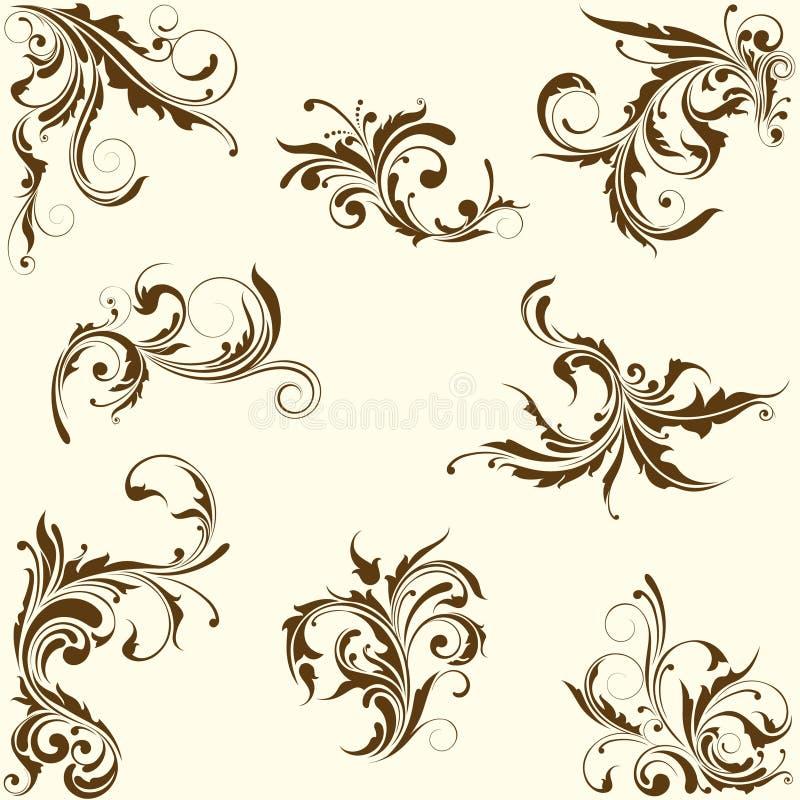 Grupo de ornamento floral do redemoinho ilustração royalty free