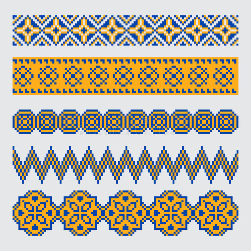 Grupo de ornamento sem emenda étnico da beira do pixel ilustração royalty free