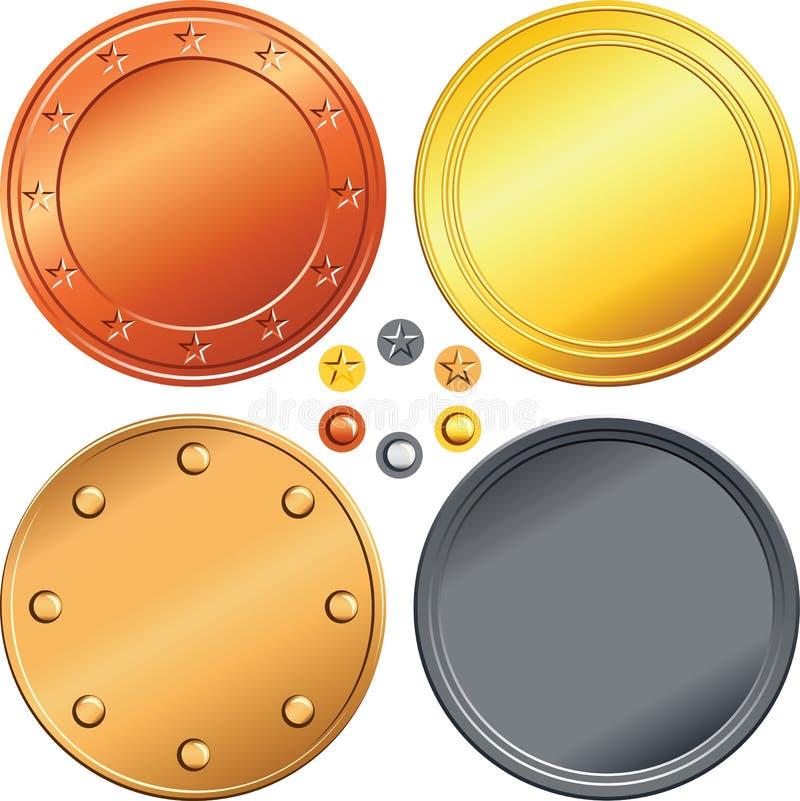 Grupo de ouro, prata, moedas de bronze. ilustração stock