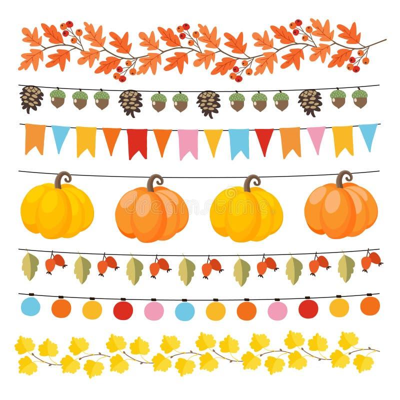 Grupo de outono bonito, festões da queda com luzes, bandeiras, bolotas, folhas, abóboras, cones do pinho e quadris cor-de-rosa Co ilustração royalty free
