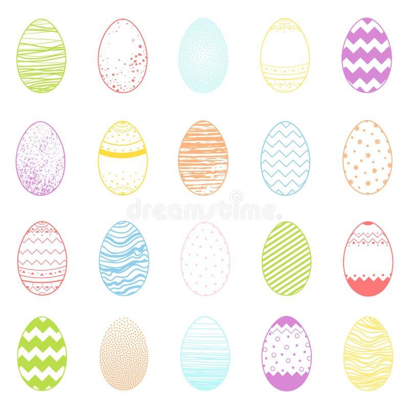 Grupo de ovos coloridos diferentes de easter ilustração do vetor