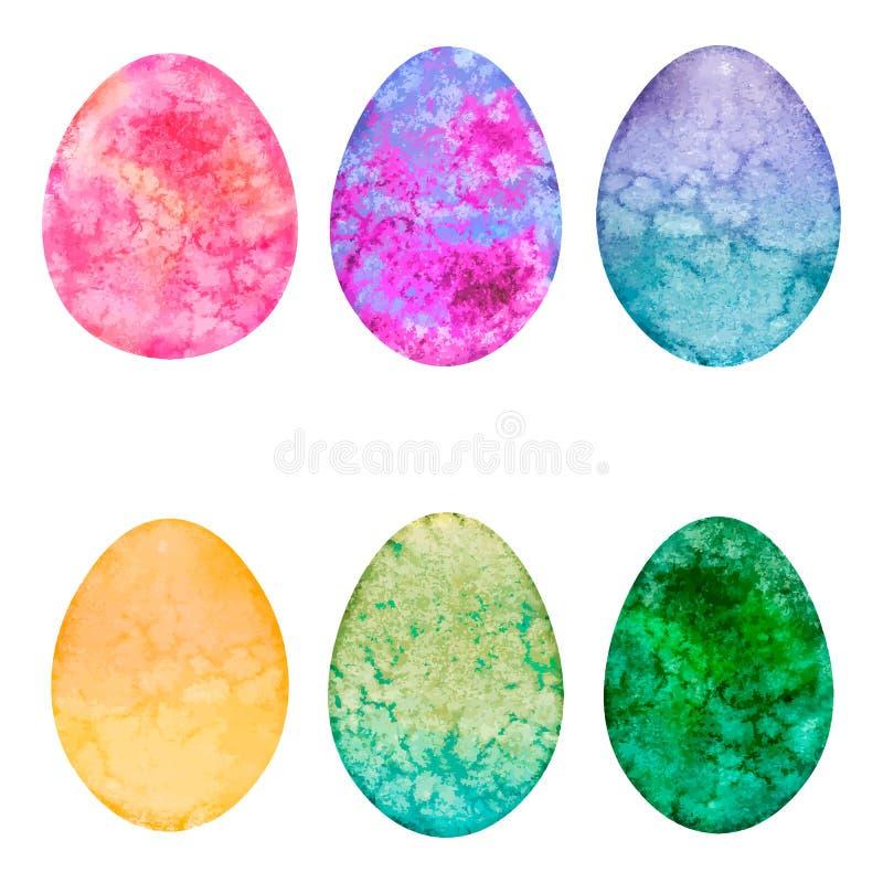 Grupo de ovos da aquarela Elementos do projeto da Páscoa ilustração royalty free