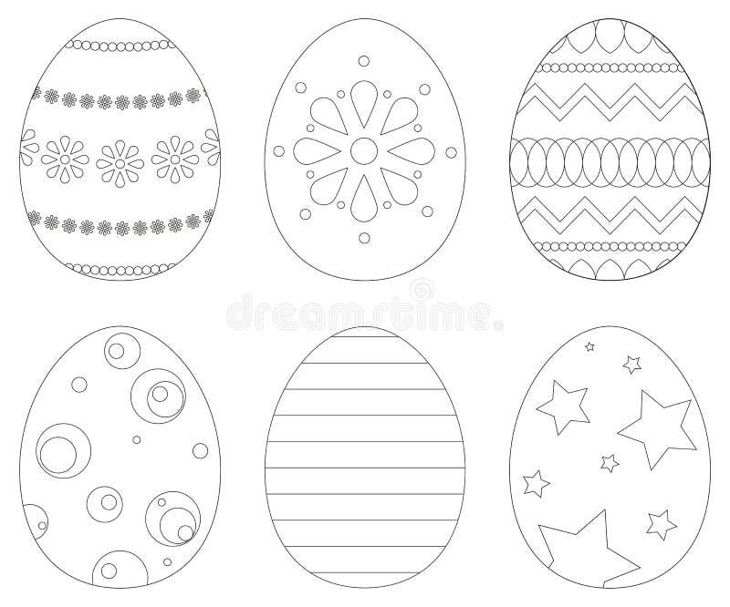 Grupo de 6 ovos da páscoa ilustração royalty free