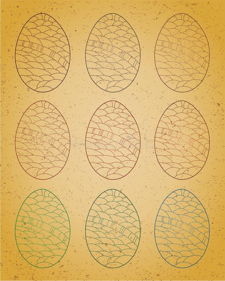 Grupo de ovos da páscoa. ilustração royalty free