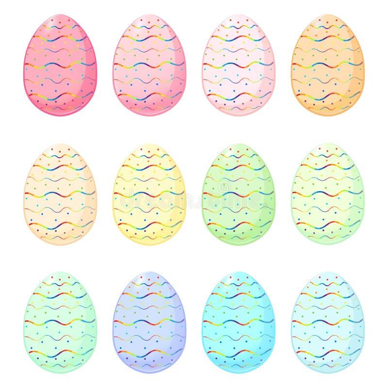 Grupo de ovos da páscoa com teste padrão do arco-íris fotografia de stock royalty free
