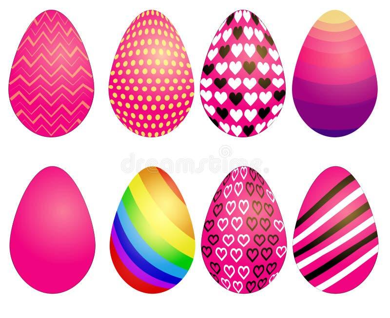Grupo de ovos da páscoa com textura diferente em um fundo branco Feriado da mola Ovos da páscoa felizes ilustração stock