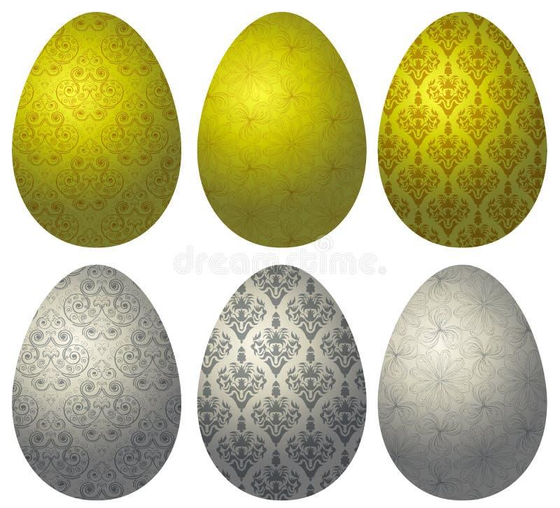 Grupo dos ovos da páscoa 2 do ouro e da prata ilustração stock
