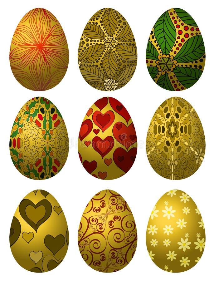 Grupo de ovos da páscoa dourados ilustração royalty free