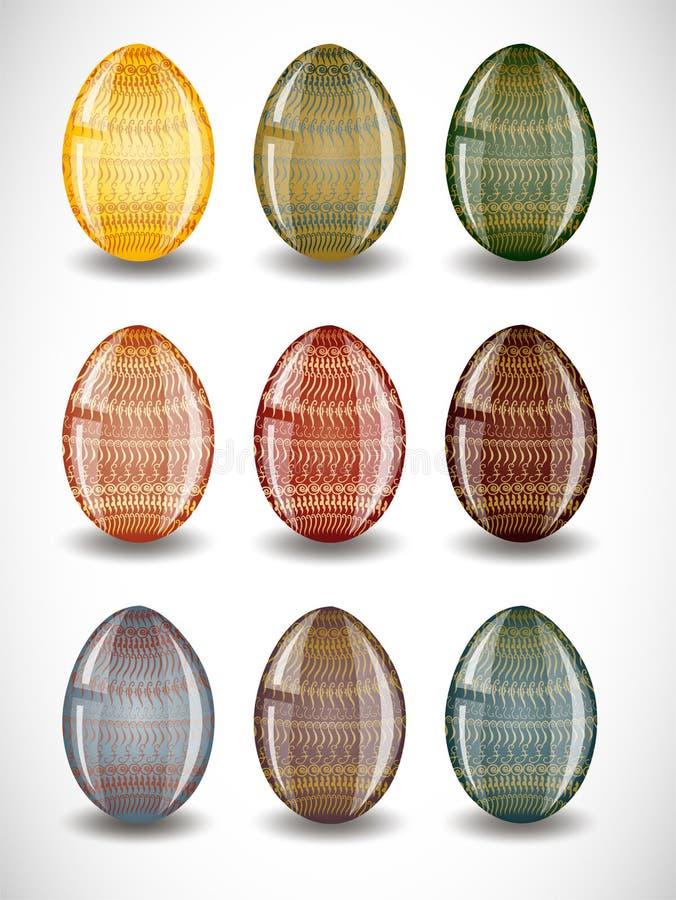 Grupo de ovos da páscoa. ilustração do vetor