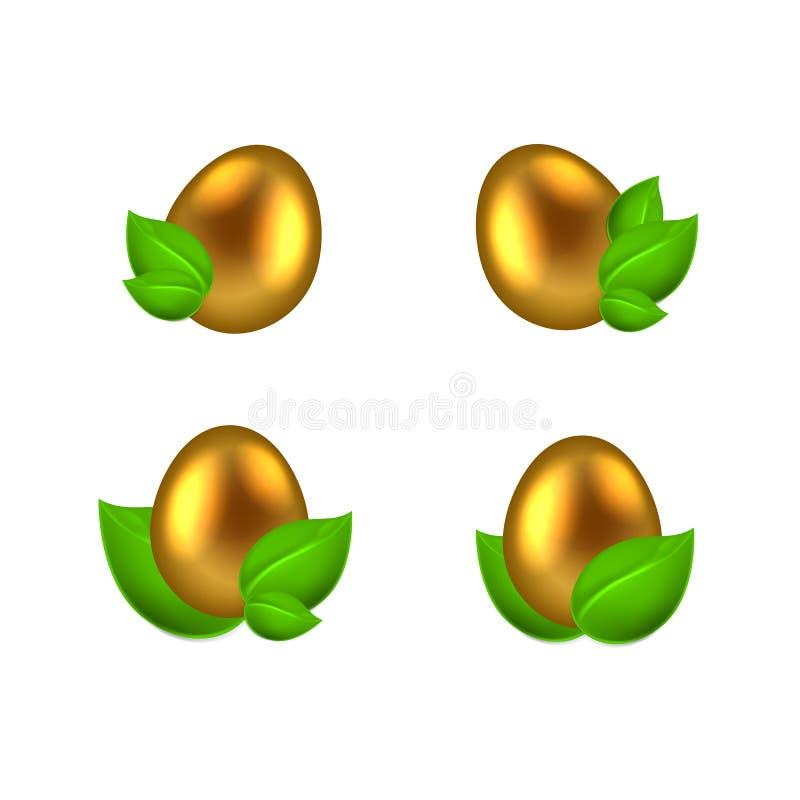 Grupo de ovos dourados nas folhas verdes ilustração do vetor