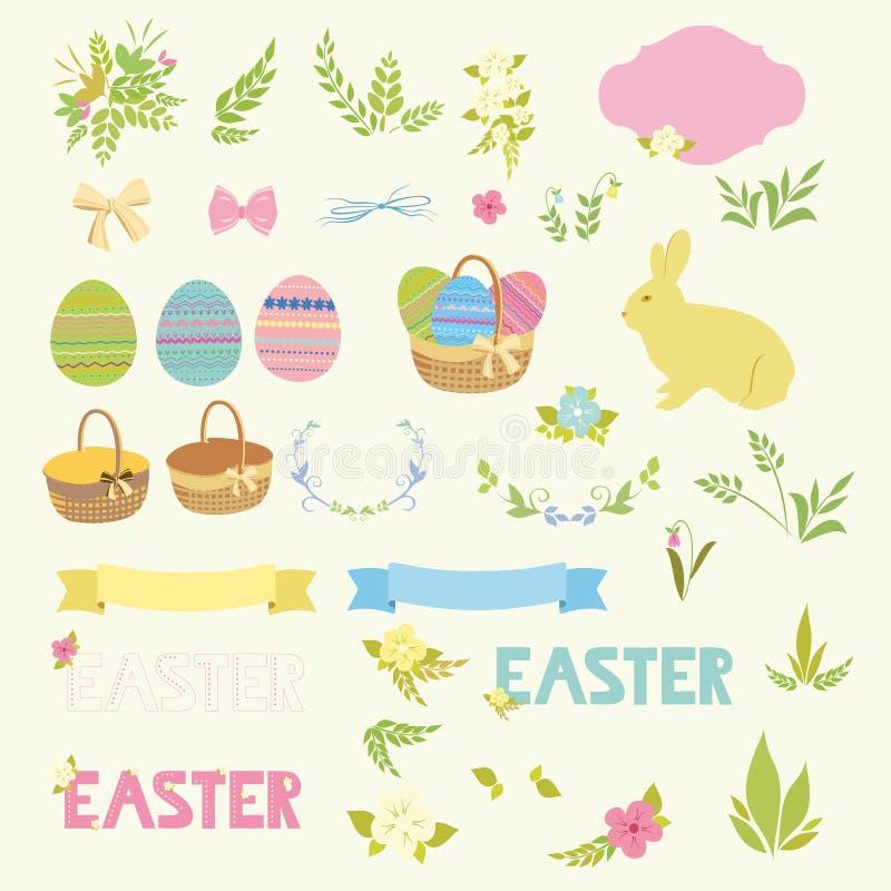 Grupo de ovos felizes dos elementos do projeto da Páscoa, fitas, quadros, florais ilustração stock
