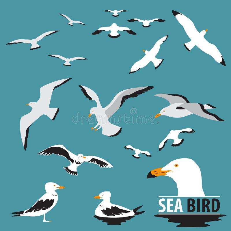 Grupo de pássaro de mar e de gaivota ilustração stock