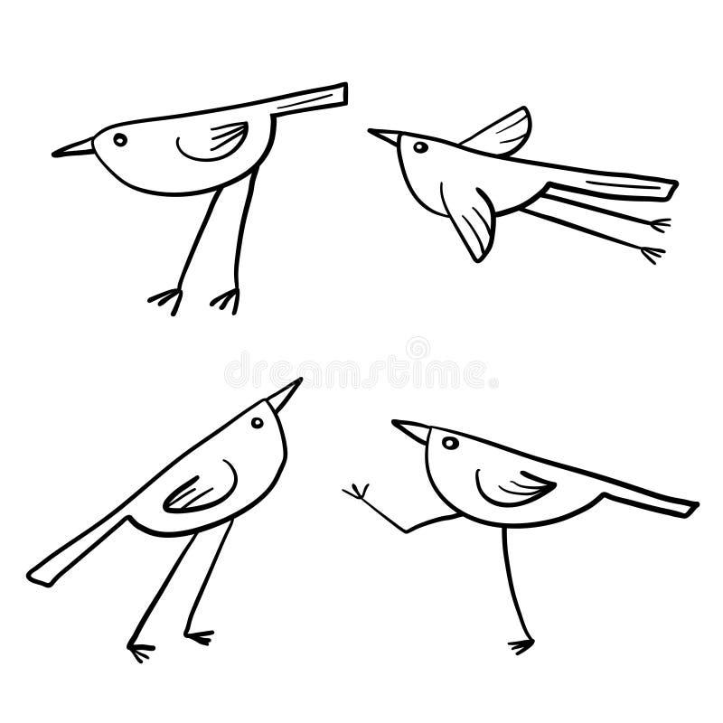 Grupo de 4 pássaros bonitos isolados no branco no vetor ilustração do vetor