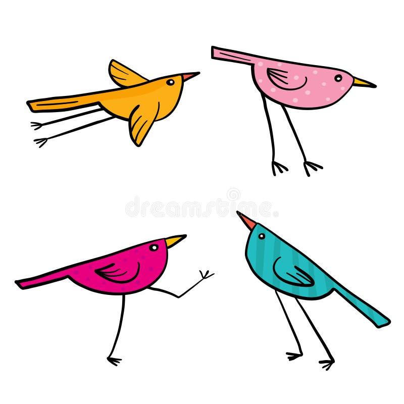 Grupo de 4 pássaros bonitos isolados no branco no vetor ilustração stock