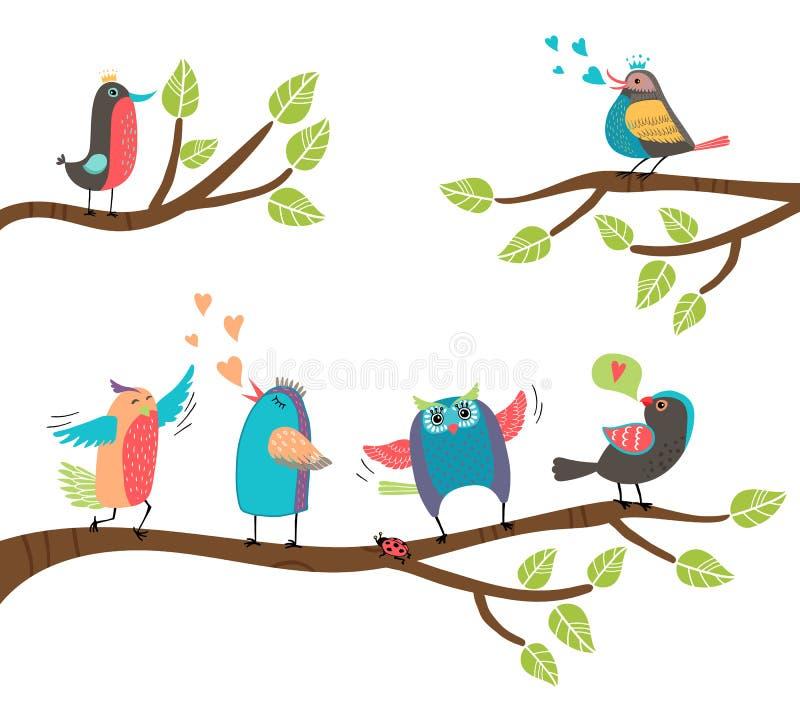 Grupo de pássaros coloridos dos desenhos animados em ramos ilustração stock