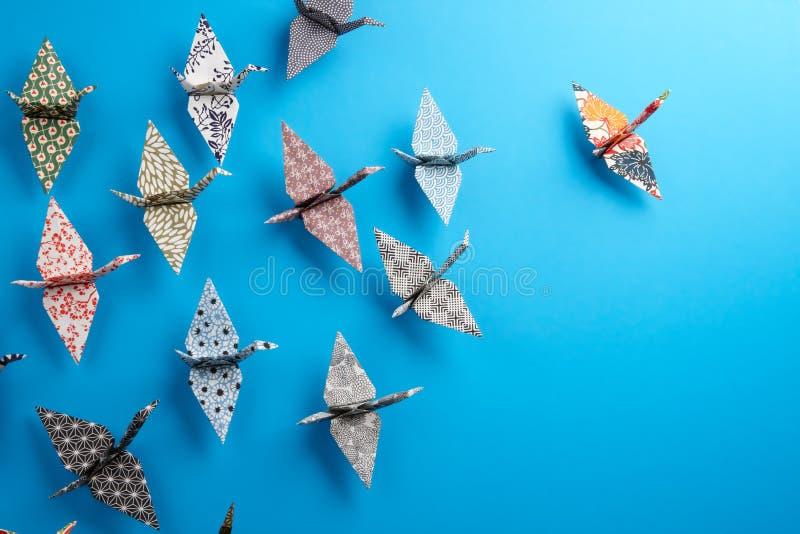 Grupo de pássaros de Origami imagem de stock