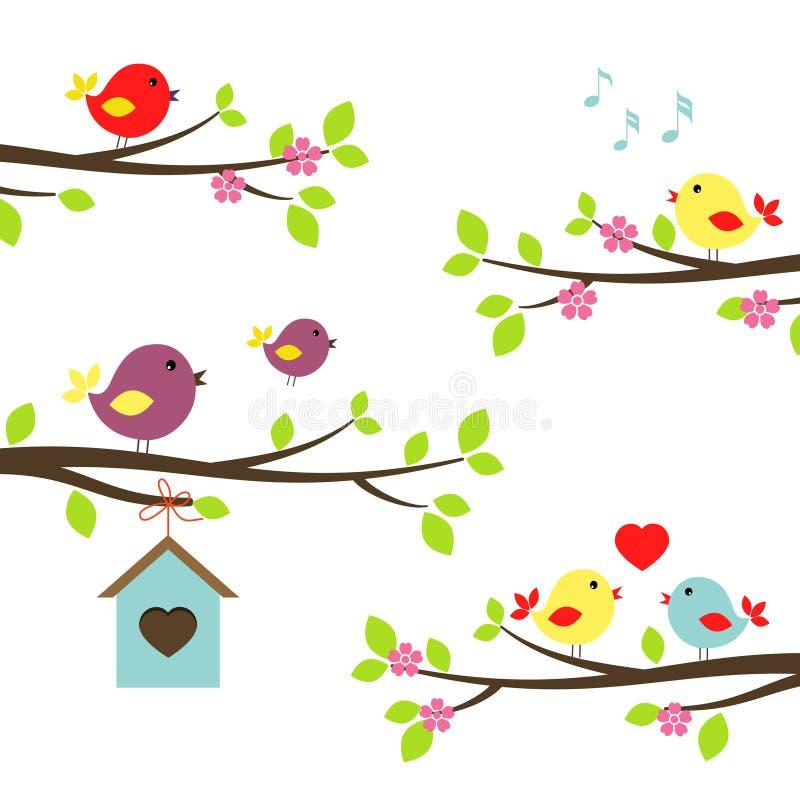 Grupo de pássaros em ramos de florescência ilustração stock