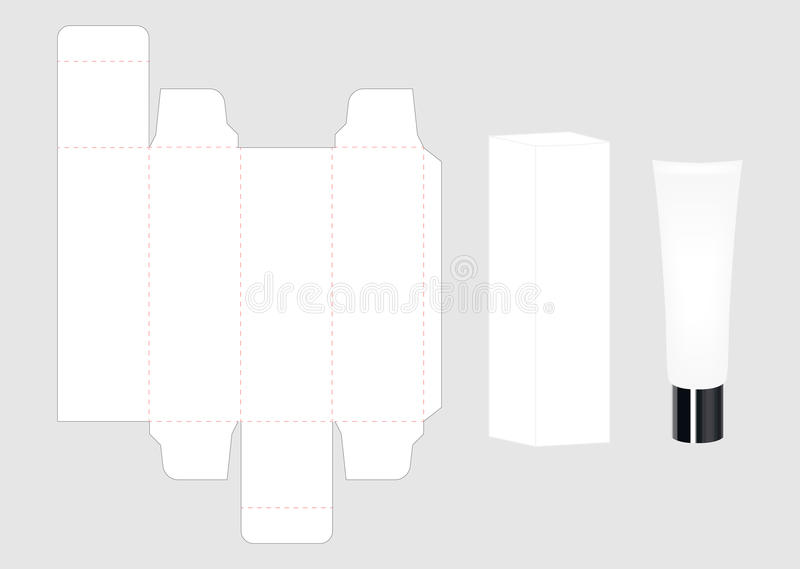 Grupo de pacote de creme cosmético do tubo e da caixa ilustração stock