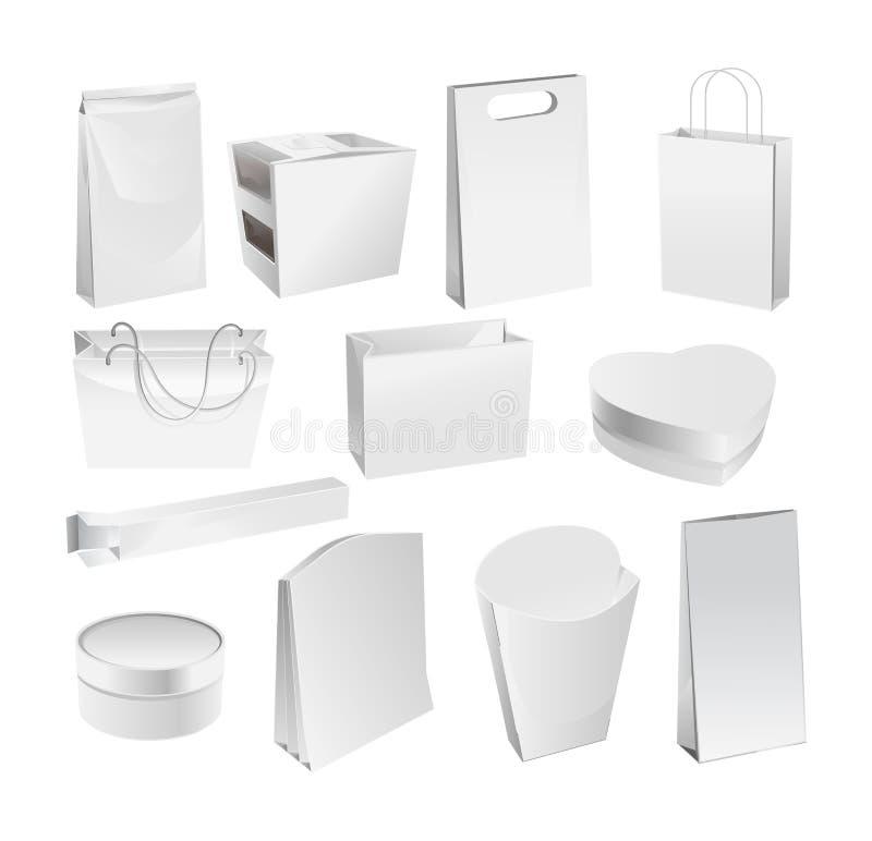 Grupo de pacotes reais dos produtos: saco de papel, caixa de cartão ilustração do vetor
