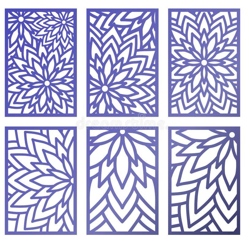 Grupo de painéis do corte do laser do vetor Molde abstrato do teste padrão para o de ilustração royalty free