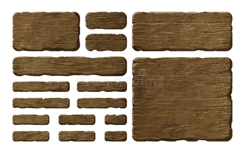 Grupo de painéis de madeira ilustração stock