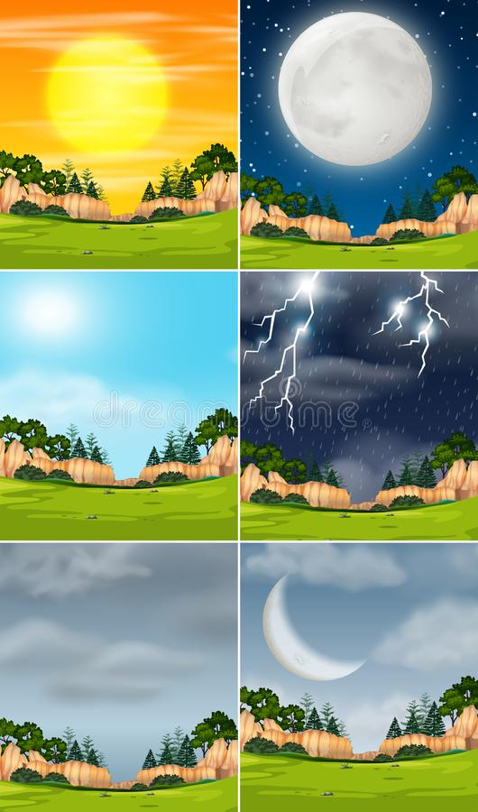 Grupo de paisagem da natureza ilustração royalty free