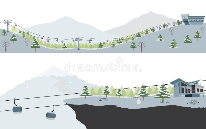 Grupo de paisagem de Ski Resort e da montanha da neve ilustração royalty free