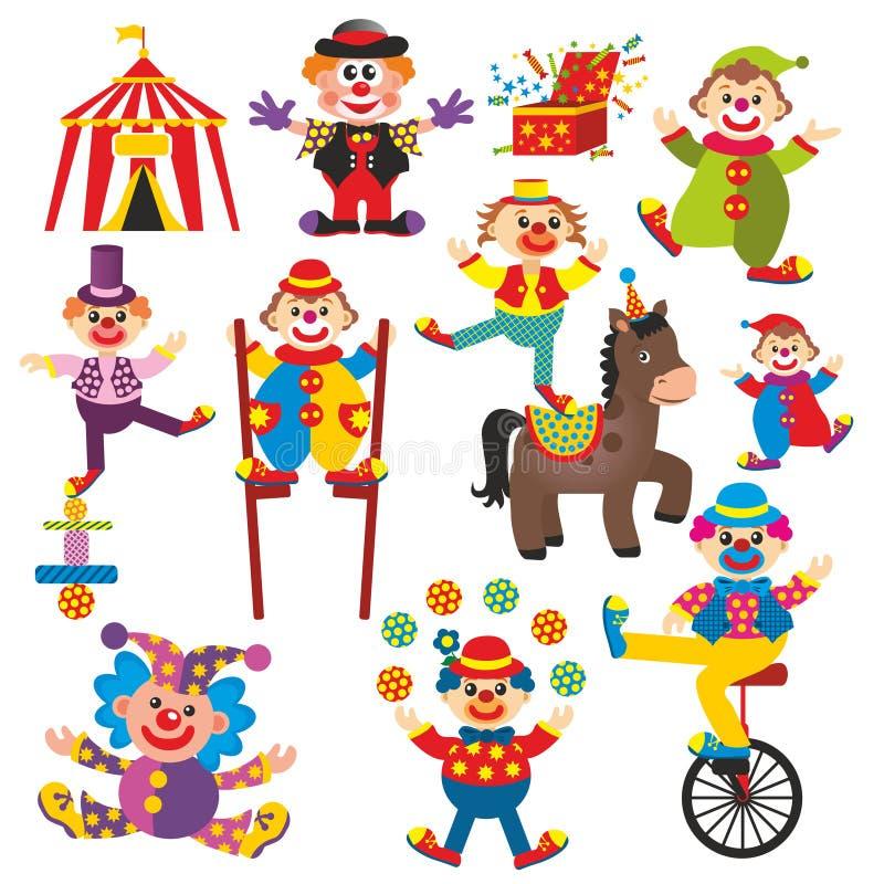 Grupo de palhaços no circo ilustração do vetor