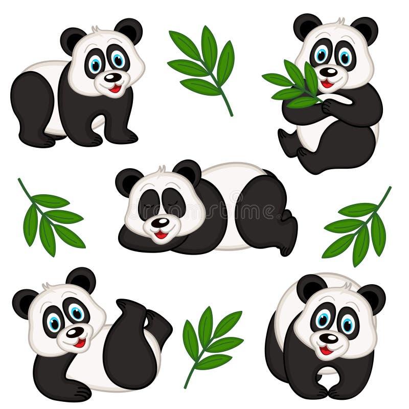 grupo de panda isolada ilustração stock