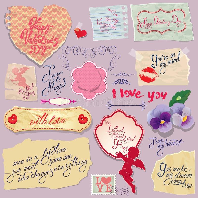 Grupo de papéis do vintage e de etiquetas, coração, textos caligráficos para ilustração stock