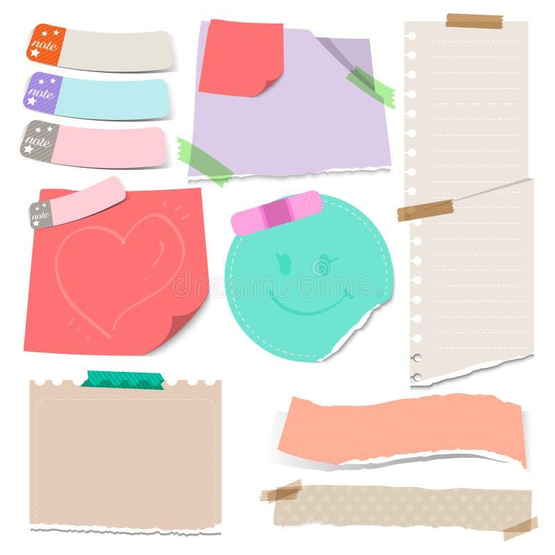 Grupo de papéis de nota rasgados coloridos esparadrapos com ilustração do vetor foto de stock royalty free