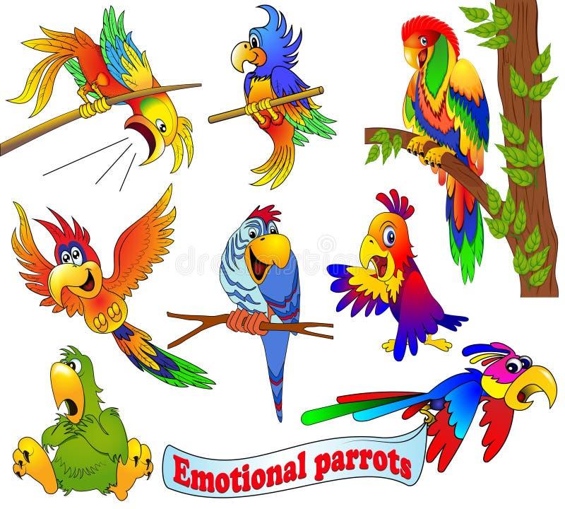 grupo de papagaios emocionais brilhantes dos desenhos animados ilustração do vetor
