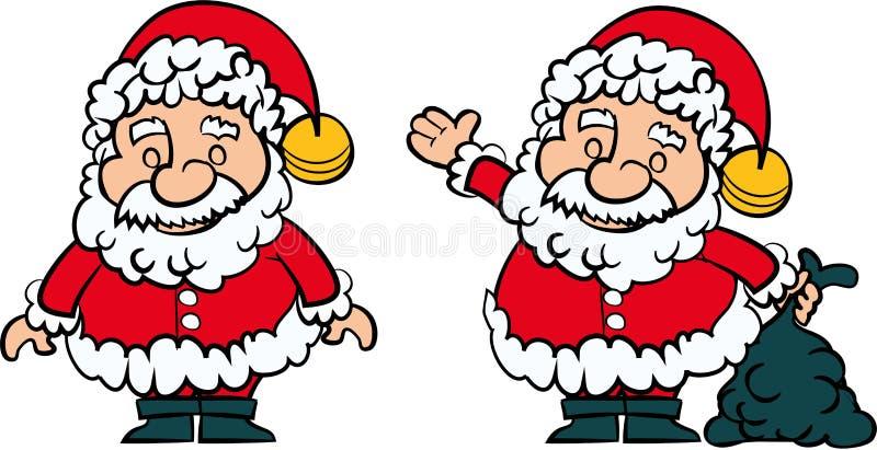 Grupo de Papai Noel de 2 ilustração stock