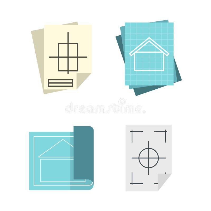 Grupo de papel arquitetónico do ícone, estilo liso ilustração do vetor