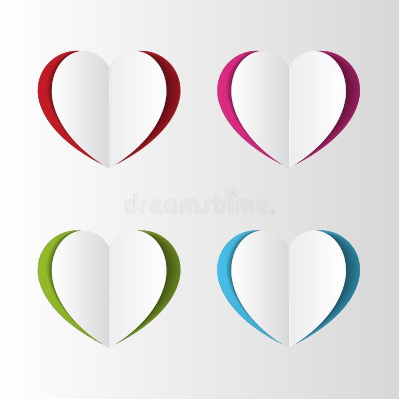 Grupo de papel colorido do coração Vetor ilustração royalty free