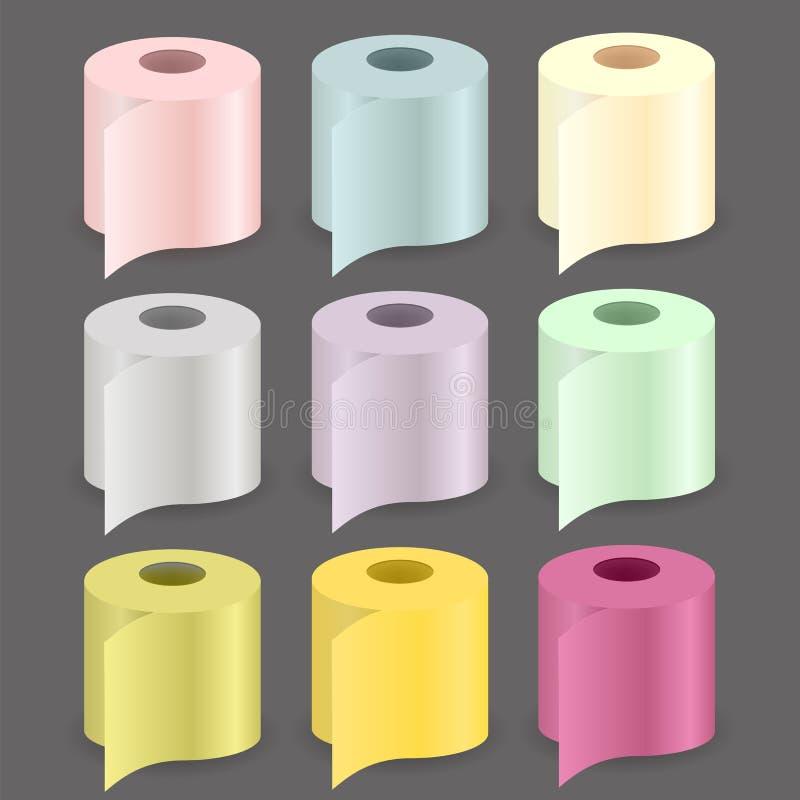 Grupo de papel colorido do rolo ilustração do vetor