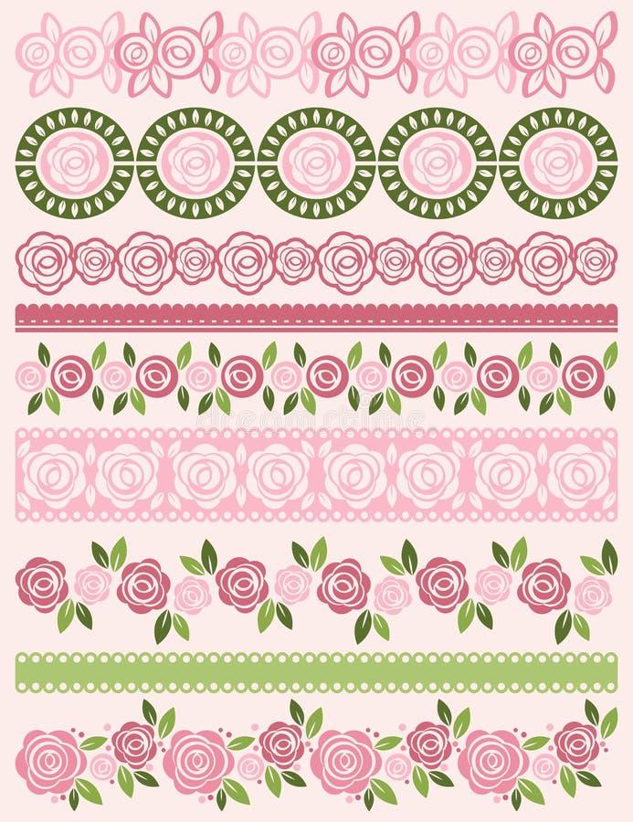 Grupo de papel de laço com rosas, vetor ilustração royalty free