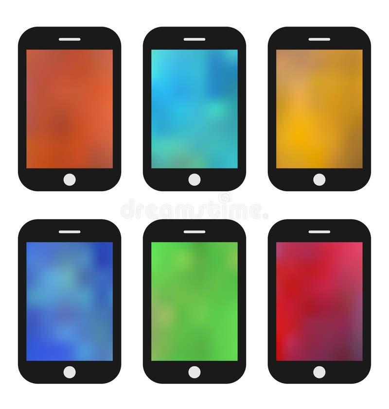 Grupo de papel de parede colorido para telefones celulares Fundos borrados ilustração stock