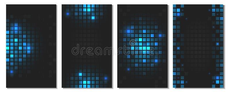 Grupo de papel de parede quadrado azul abstrato do mosaico com as telhas geométricas brilhantes ilustração do vetor