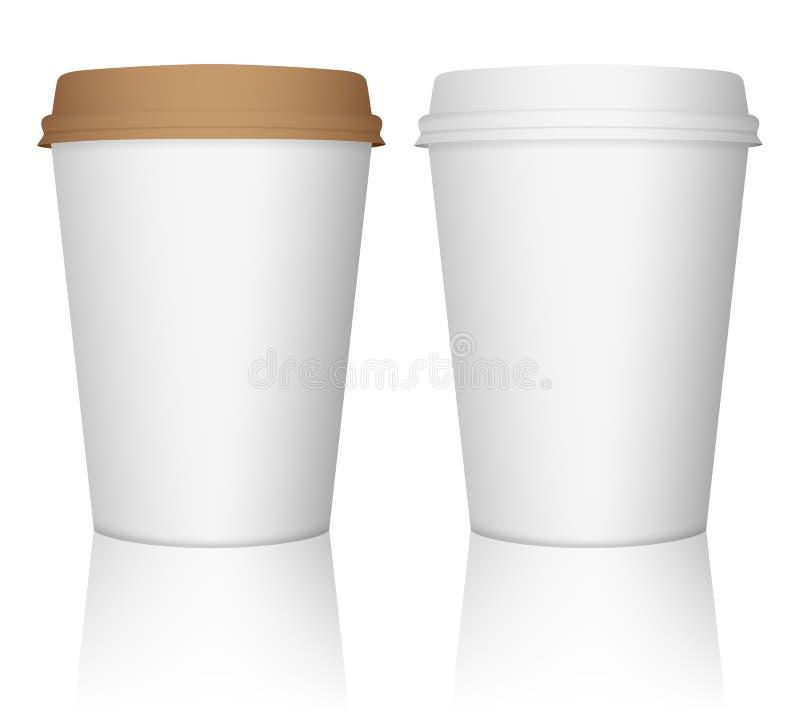 Grupo de papel do copo de café ilustração do vetor