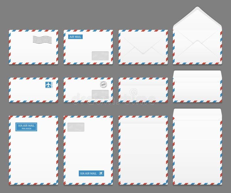 Grupo de papel do vetor dos envelopes da letra do correio aéreo ilustração stock