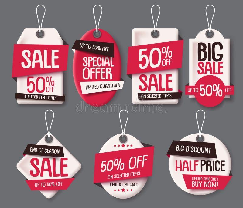 Grupo de papel do vetor do molde de corte das etiquetas da venda Os preços etiquetam com texto da venda e do disconto ilustração stock