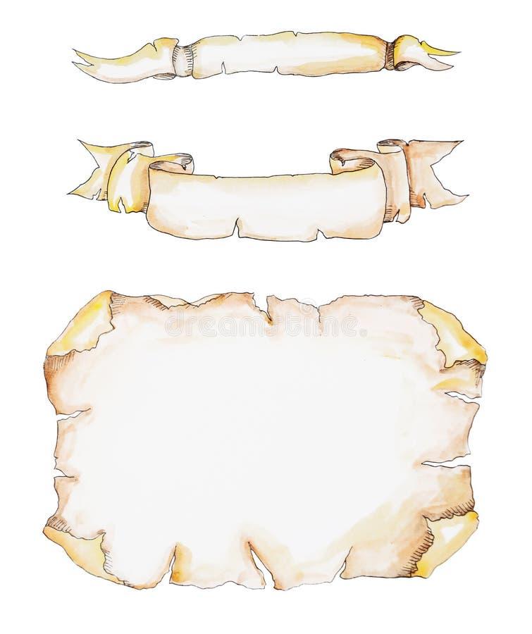 Grupo de papel velho do rolo Ilustração tirada mão da aquarela isolada no fundo branco ilustração royalty free